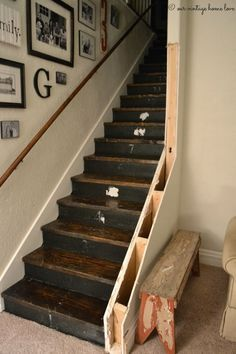 Making A Staircase Awesome Photos Redo Stair Railing Imhoff Painting Making Your Staircase Match Your Redo Stairs, Staircase Makeover, Basement Stairs, House Stairs, Basement Ideas, Stairs Upgrade, Stair Redo, Stairs Trim, Entryway Stairs