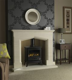 Make your stove the pride of your home with our log burner fireplace ideas! We suggest surrounds, hearths and more create a stunning stove display. Gas Stove Fireplace, Wood Burner Fireplace, Red Brick Fireplaces, Limestone Fireplace, Marble Fireplaces, Fireplace Mantel, Modern Log Burners, Log Burner Living Room, Herringbone Fireplace