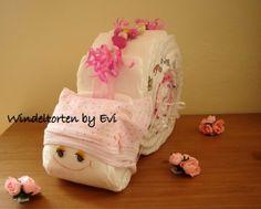 Windelschnecke 'Princess', Windeltorte (gerne auch für Zwillinge) von Windeltorten By Evi auf DaWanda.com