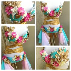Flower wrap around rave outfit Music Festival Outfits, Festival Costumes, Music Festivals, Edm Outfits, Rave Festival, Festival Wear, Strip Steak, Burning Man, Coachella