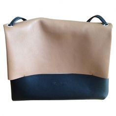 celine beige leather handbag blade