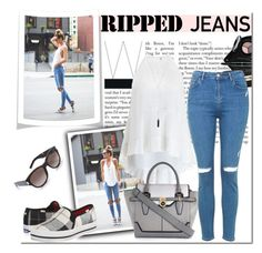 """Ripped Jeans"" by gabbyramosbr ❤ liked on Polyvore featuring mode, Smashbox, Zimmermann, River Island, Topshop, Kate Spade, Yves Saint Laurent, Natalie B, rippedjeans et contestentry"