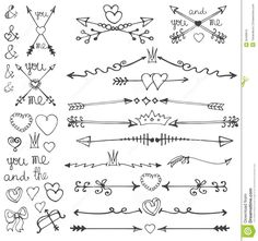 Doodle Hand Drawn Arrows,hearts,deviders,borders - Download From Over 65 Million High Quality Stock Photos, Images, Vectors. Sign up for FREE today. Image: 50408915