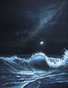 Learn how to paint the ocean waves and gorgeous night sky in this step by step tutorial Bonus Learn the differences between painting with acrylics vs oils Art lesson on Y. Acrylic Painting For Beginners, Acrylic Painting Techniques, Beginner Painting, Painting Tools, Painting Art, Ocean Paintings, Watercolor Painting, Watercolor Artists, Watercolor Tips