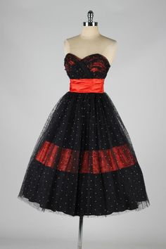 Vintage 1950's Red Satin Black Tulle Flocked Cocktail Dress | From a collection of rare vintage evening dresses at http://www.1stdibs.com/fashion/clothing/evening-dresses/