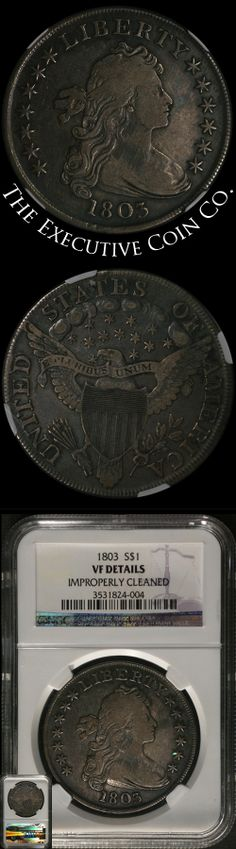 This nice 1803 Bust Dollar has great eye appeal. The coin has been very lightly cleaned on the obverse in the past. Although designated by NGC as 'improperly cleaned,' this is a very attractive example with old time color and patina. The cleaning must have been generations ago. Certified: NGC VF Details