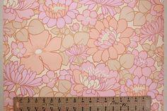 1970's Vintage Wallpaper Vinyl Retro Large Pink by RosiesWallpaper