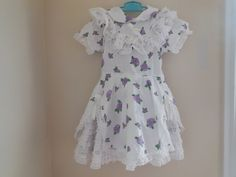 Size 4  Vintage Toddler Girl White Purple Flower  by LittleMarin,