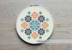 modern cross stitch pattern, geometric snowflake ornament, PDF ** instant download**