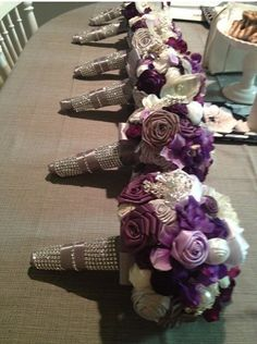 DIY Rose Bouquets for Bridesmaids :  wedding bouquet bridesmaids brooch bouquet brooches ceremony diy flowers inspiration purple reception ribbon rose silver BRIDESMAIDS