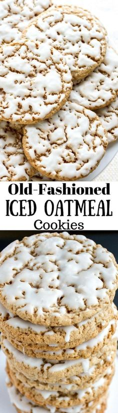Old-Fashioned Iced Oatmeal Cookies ~ Soft in the middle and crispy on the edges, sweet, but not overly so, and the cinnamon and nutmeg really shine through. A really terrific cookie! (old fashioned christmas sweets) Mini Desserts, Cookie Desserts, Just Desserts, Cookie Recipes, Delicious Desserts, Dessert Recipes, Yummy Food, Cooking Cookies, Crinkle Cookies