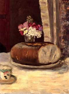 Still Life with Bread and Flowers  Pierre Bonnard - 1912. #artists #bonnard