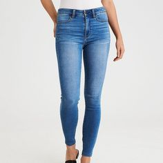 AE Super Soft Super Hi-Rise Jegging ($50) ❤ liked on Polyvore featuring pants, leggings, blue, stretchy pants, fitted pants, blue denim leggings, stretch jeggings and stretch denim leggings