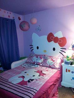 Hello KItty   girls bedroom with hello kitty headboard mural