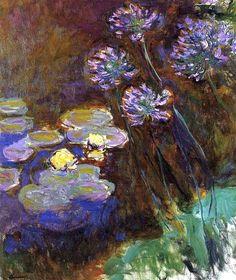 Nymphéas et agapanthes du jardin d'eau - Claude Monet 1914-17 - Musée Marmottan  D'une grande beauté*