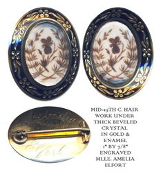 19th C. Mourning Brooch with Hair ~ R C Larner Buttons at eBay  http://stores.ebay.com/RC-LARNER-BUTTONS
