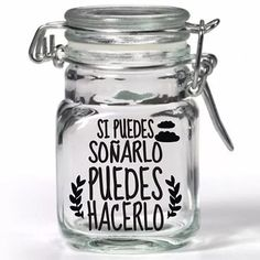 vinilos decorativos frases para frascos,vasos x 12 unidades Bottles And Jars, Mason Jars, Vasos Vintage, Cat Cafe, Jar Gifts, Vintage Decor, Decoupage, Diy Crafts, Lettering