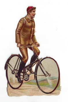 Victorian Era Man on Bicycle die cut scrap 1800s