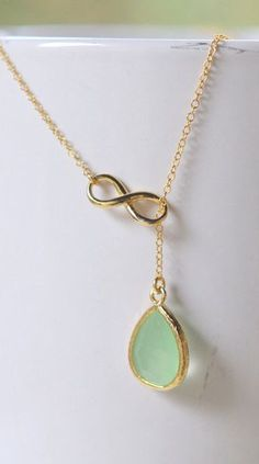 Mint Teadrop and Gold Infinity Lariat Necklace