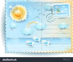 Nuovo #vettoriale su #Shutterstock! :) New #vector on Shutterstock! #postcard #template #summer #sea #beach #holiday #vacation #background  http://www.shutterstock.com/en/pic.mhtml?id=439754248