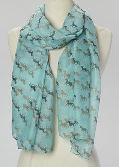 Light Turquoise & Brown Horse Herd Scarf