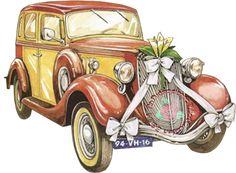 auto - Page 3 Clip Art Vintage, Vintage Cards, Vintage Images, Decoupage, Illustrations Vintage, Car Illustration, Pics Art, Clipart, Wedding Cards