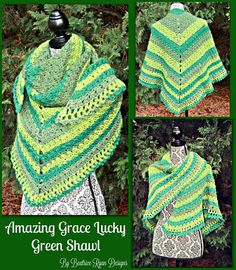 Amazing Grace Lucky Green Shawl By Elena Hunt - Free Crochet Pattern - (ravelry)