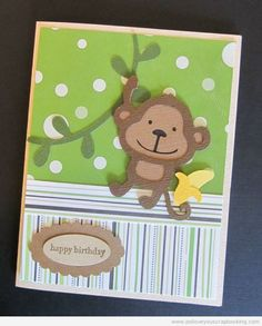 Monkey Birthday Cricut Card Using Create A Critter Cricut Cartridge