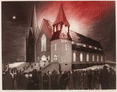Etching by David Blackwood of the Burning of the Methodist Church in Wesleyville, Newfoundland, 1976 Local Artists, Great Artists, Art Gallery Of Ontario, Canada Images, Newfoundland And Labrador, Found Art, Canadian Artists, Artist Painting, Art History