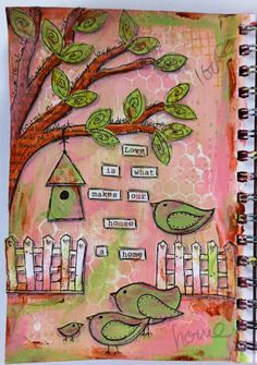 Love is... art journal, mixed media