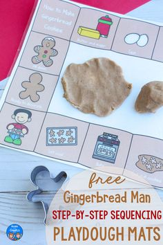 These free printable playdough mats support sequencing of events, an important early literacy skill. Use this fun gingerbread activity with preschool or kindergarten kids this winter! Use this fun gingerbread activity in a center, or send it home with students for the holidays. #preschool #kindergarten #gingerbread #booksandgiggles #sequencing