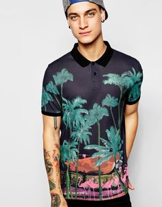 ASOS Polo Shirt With Flamingo Print // $18.00