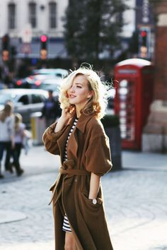 Beautiful colors! retro hair with striped mini dress and oversized trench