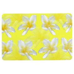 Yellow Frangipani Passion Large Floor Mat. Floor Mat - home gifts ideas decor special unique custom individual customized individualized