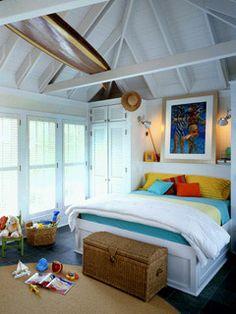 nautical kids bedroom for a surfer girl Surf Bedroom, Beach House Bedroom, Dream Bedroom, Home Bedroom, Seaside Bedroom, Bungalow Bedroom, Beach Room, Bedroom Ideas, Kids Bedroom Accessories