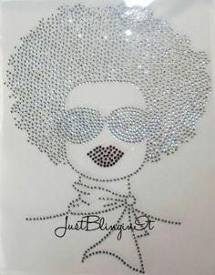 Woman with Afro Rhinestone Iron on Transfer Bling | eBay