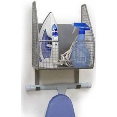 On the wall iron holder. $30.00 - from Stacks and Stacks. Looks more sturdy than a simple white wire unit and you can store the iron upright--no need to empty the water each time!