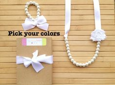 Custom shabby chic jewelry set - white - pick your colors -  by MissSweetPeaBoutique, $20.00