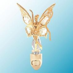 24k Gold Fairy with Ribbon Night Light - Clear Swarovski Crystal *** Check this awesome product by going to the link at the image. (This is an affiliate link and I receive a commission for the sales)
