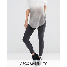 ASOS Maternity Rivington Jegging In Washed Black With Under the Bump... (€24) via Polyvore featuring maternity and black