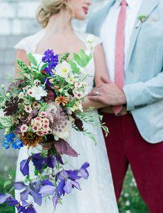 Uniquely Wild Bridal Bouquet featuring Purple Clematis ~ we ❤ this! moncheribridals.com