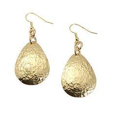 Hammered Nu Gold Brass Tear Drop Earrings - Gold Tone Earrings - Handmade Red Brass Jewelry for Women - Gold Drop Earrings - Gifts for Her Gold Drop Earrings, Teardrop Earrings, Dangle Earrings, Jewellery Earrings, Small Earrings, Gold Jewellery Design, Brass Jewelry, Designer Jewelry, Fine Jewelry