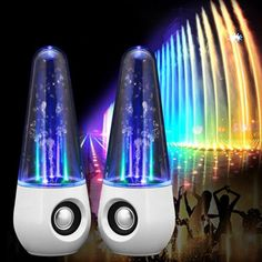 LED Light Water Dancing Speaker Altavoz Parlantes HIFI 3D Surround Subwoofer Stereo Support Computers Music Active Speakers #Affiliate