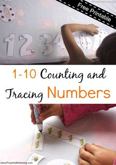 Print out and laminate and use in various ways! Count or trace. free printable for counting with toddlers or delayed learners. great writing practice for numbers.