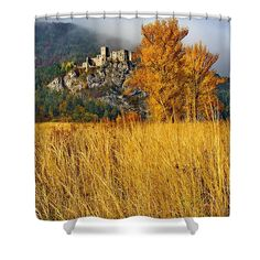 Castle in autumn Shower Curtain by Ren Kuljovska. This shower curtain is made from polyester fabric and includes 12 holes at the top of the curtain for simple hanging. The total dimensions of the shower curtain are wide x tall. Shower Curtain Rings, Shower Curtains, Nature Artists, Nature Artwork, Curtains For Sale, Medieval Castle, Female Photographers, Botanical Art, Art Market