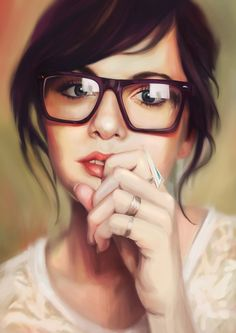 Artist: Mye Lim {contemporary figurative brunette woman head with geeky eyeglasses female face portrait digital painting}