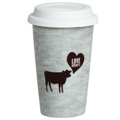 Fitz and Floyd Love HERSHEY'S Cow Travel Mug, Gray ($9.99) ❤ liked on Polyvore featuring home, kitchen & dining, drinkware, cow mug and grey mugs