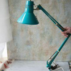 Vintage Teal Metal Swing Drafting Lamp by RoostersNestVintage