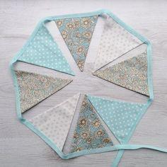 Aqua Floral Wedding Bunting Baby Shower Flag by BellaandRoo