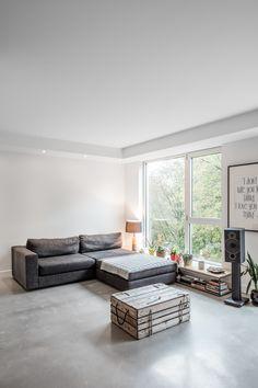 Polished Concrete Floors by KnightsBridge Condo Design, Interior Design, Polished Concrete, Smooth Concrete, Basement Furniture, Epoxy Floor, Grey Flooring, Concrete Floors, Home Remodeling